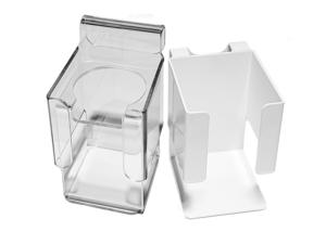 Hållare för handsprit/tvål, vit metall eller transparent plast som man enkelt kan fästa på våra vagnar.