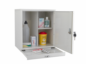 Medicinskåp J450, litet med utdragbar avlastningsskiva