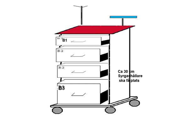 Akutvagn komplett bred med 4 lådor
