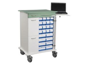 Läkemedelsvagn komplett, bred med datalåda