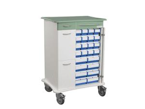 Läkemedelsvagn komplett, bred, utan datalåda