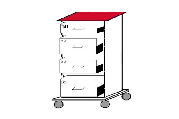 Läkemedelsvagn komplett, med 4 lådor